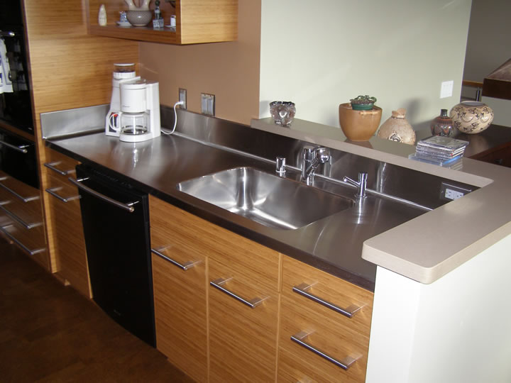 Brushed Stainless Steel Countertop With Sink
